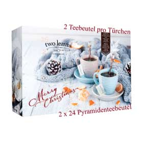 Two Leaves and a Bud Tee Adventskalender 4 x 12 Sorten im Pyramiden Teebeutel ~ 110g